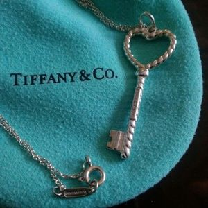 Tiffany & Co 2 inch Beaded Heart Key Necklace